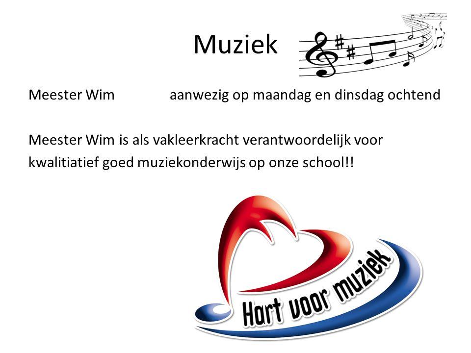 Muziek Meester Wimaanwezig op maandag en dinsdag ochtend Meester Wim is als vakleerkracht verantwoordelijk voor kwalitiatief goed muziekonderwijs op onze school!!