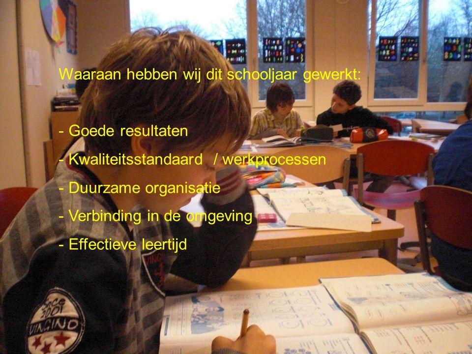 Waaraan hebben wij dit schooljaar gewerkt: - Goede resultaten - Kwaliteitsstandaard / werkprocessen - Duurzame organisatie - Verbinding in de omgeving - Effectieve leertijd