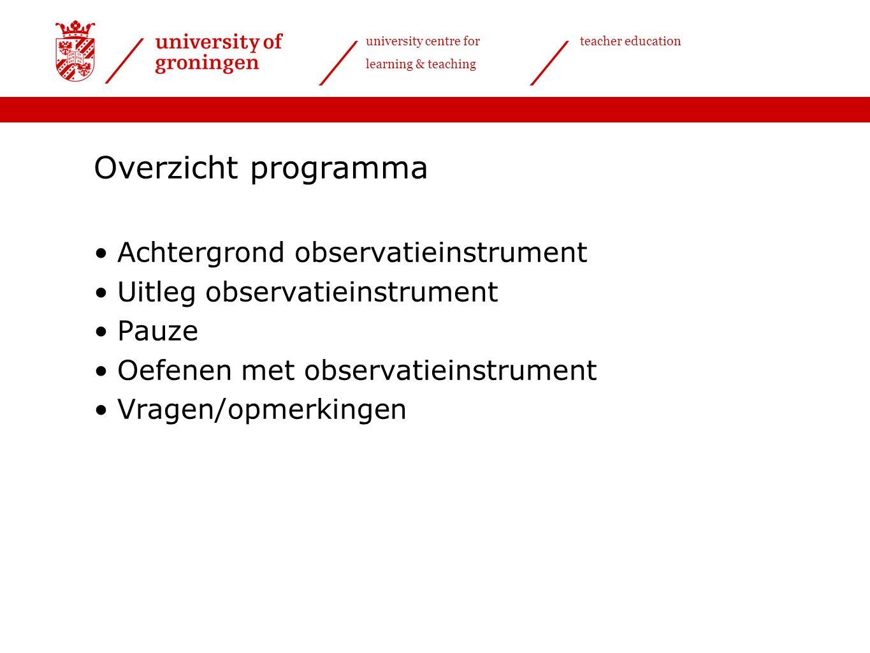 university centre for learning & teaching teacher education Theoretische achtergrond