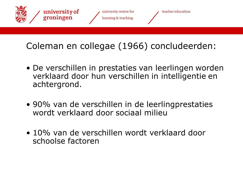university centre for learning & teaching teacher education Meer dan 100 empirische studies: Outlier studies Surveys Veldexperimenten