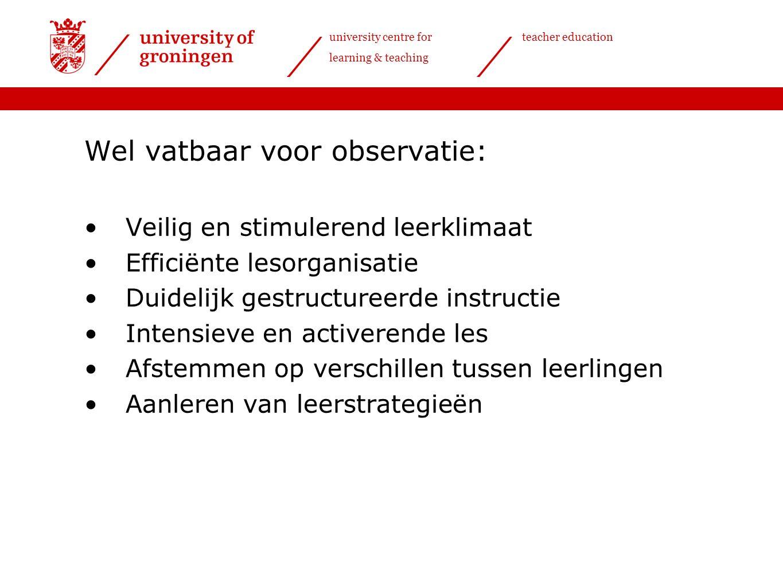 university centre for learning & teaching teacher education Uitleg observatieinstrument