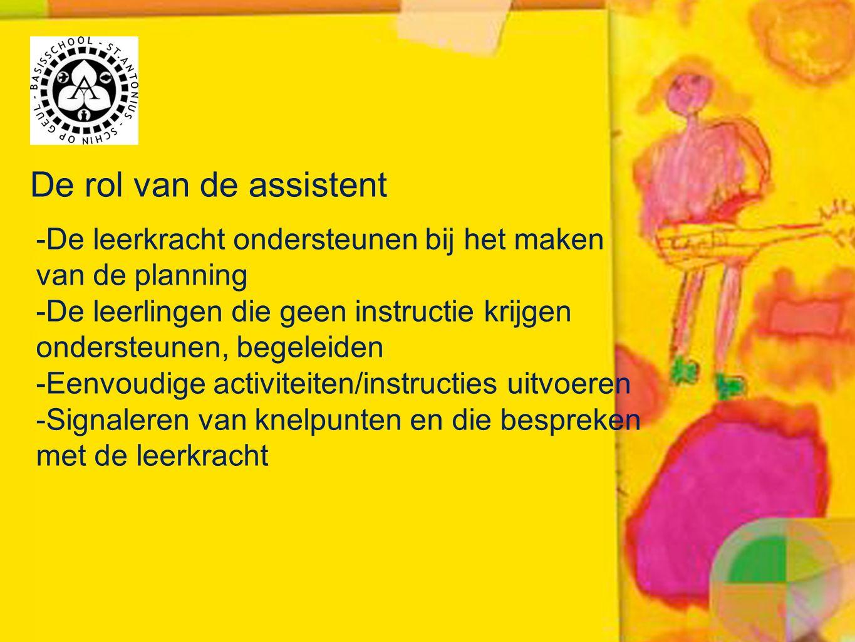 De rol van de assistent -De leerkracht ondersteunen bij het maken van de planning -De leerlingen die geen instructie krijgen ondersteunen, begeleiden -Eenvoudige activiteiten/instructies uitvoeren -Signaleren van knelpunten en die bespreken met de leerkracht