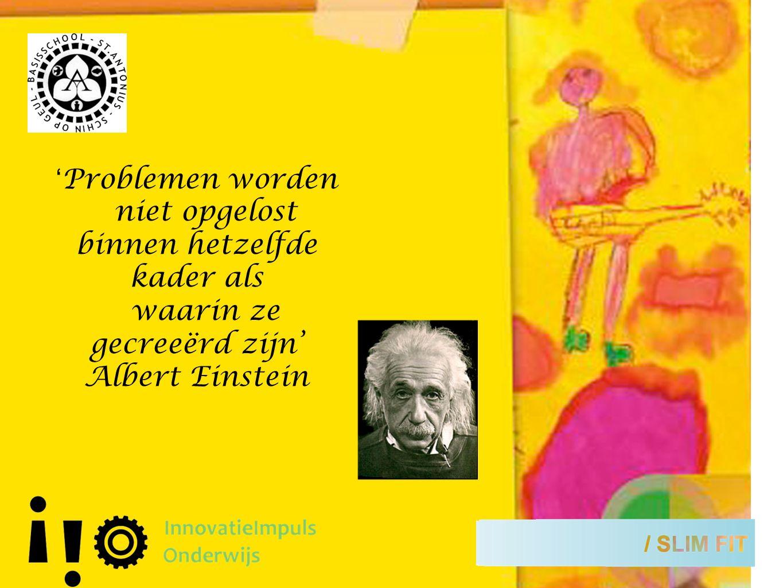 ' Problemen worden niet opgelost binnen hetzelfde kader als waarin ze gecreeërd zijn' Albert Einstein