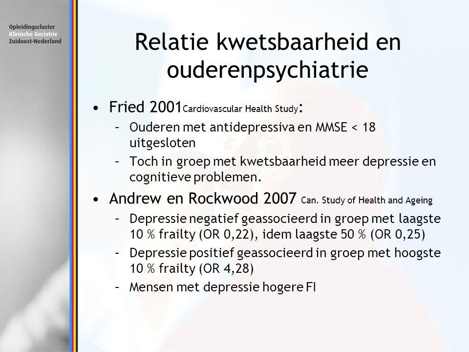 Relatie kwetsbaarheid en ouderenpsychiatrie Fried 2001 Cardiovascular Health Study : –Ouderen met antidepressiva en MMSE < 18 uitgesloten –Toch in gro
