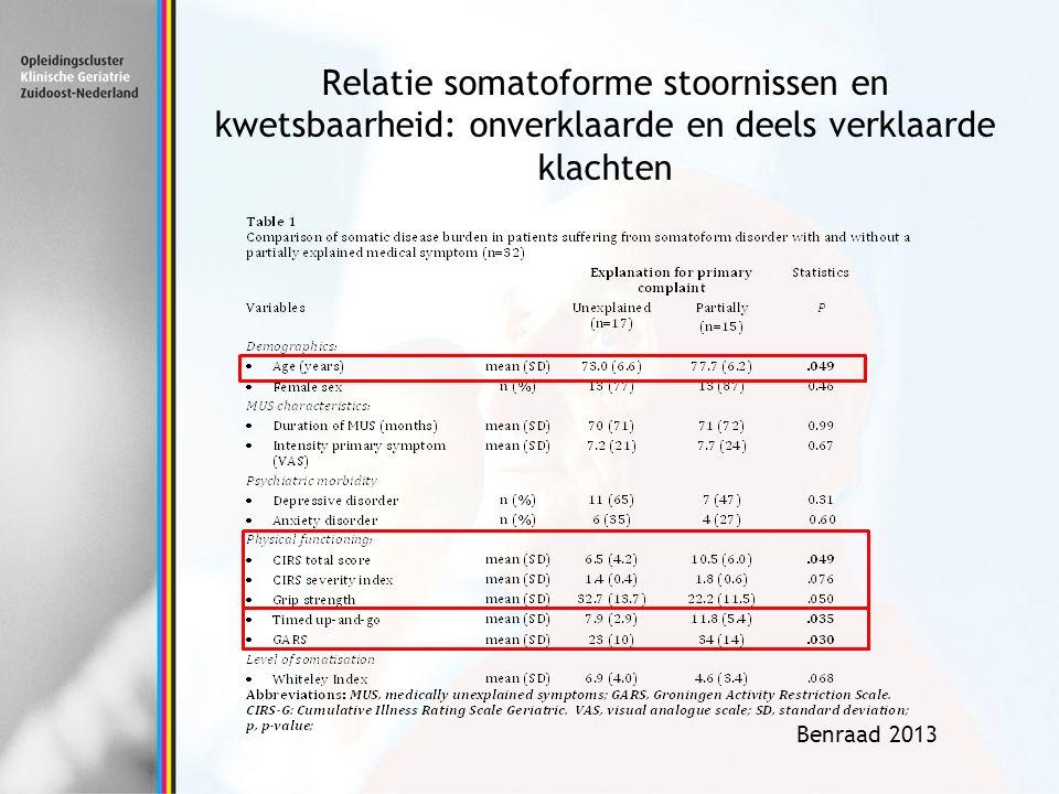 Benraad 2013 Relatie somatoforme stoornissen en kwetsbaarheid: onverklaarde en deels verklaarde klachten