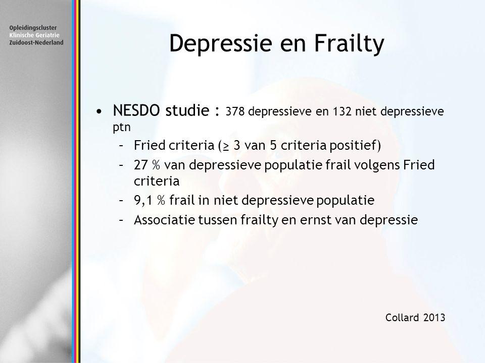 Depressie en Frailty NESDO studie : 378 depressieve en 132 niet depressieve ptn –Fried criteria (≥ 3 van 5 criteria positief) –27 % van depressieve po