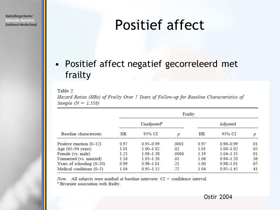 Positief affect negatief gecorreleerd met frailty Ostir 2004 Positief affect