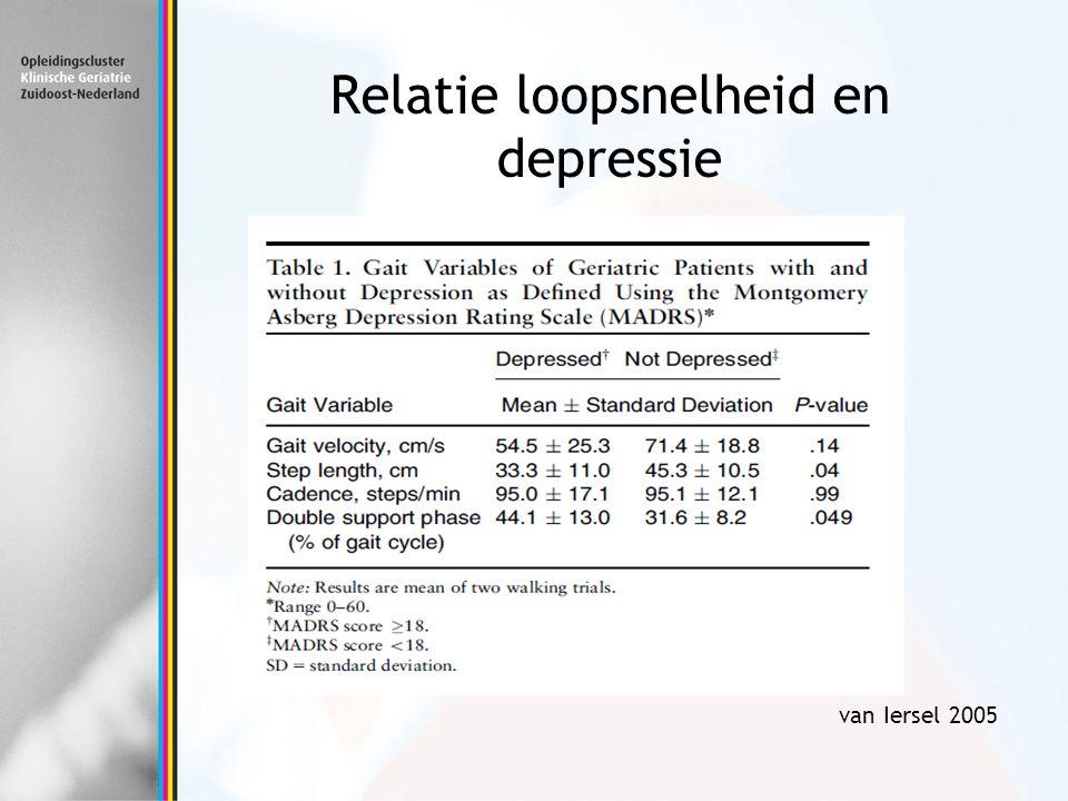 Relatie loopsnelheid en depressie van Iersel 2005