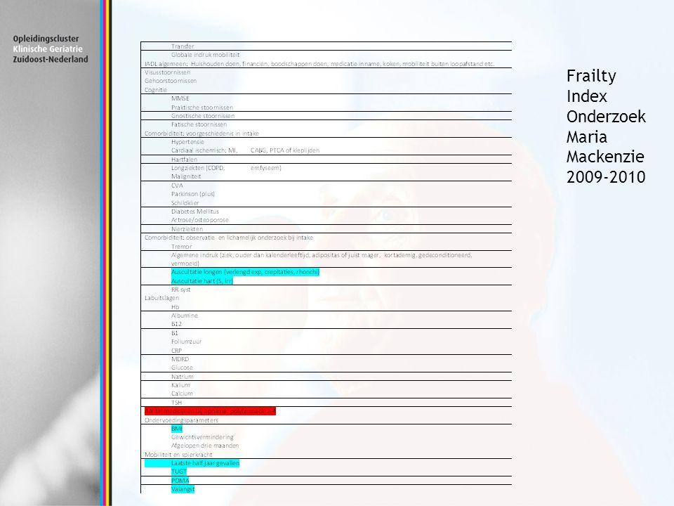 Frailty Index Onderzoek Maria Mackenzie 2009-2010