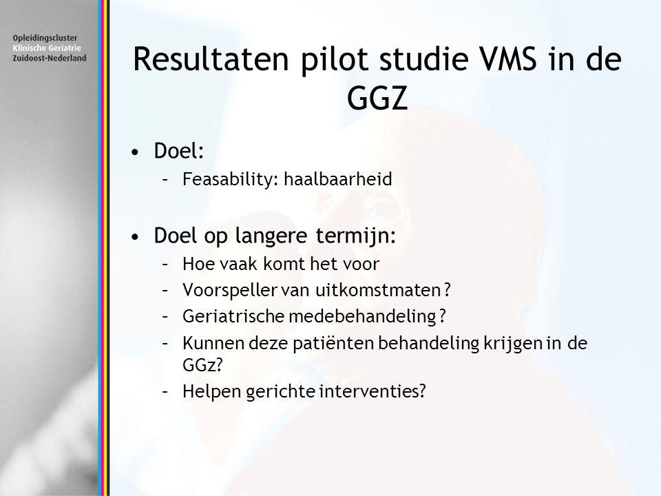 Resultaten pilot studie VMS in de GGZ Doel: –Feasability: haalbaarheid Doel op langere termijn: –Hoe vaak komt het voor –Voorspeller van uitkomstmaten