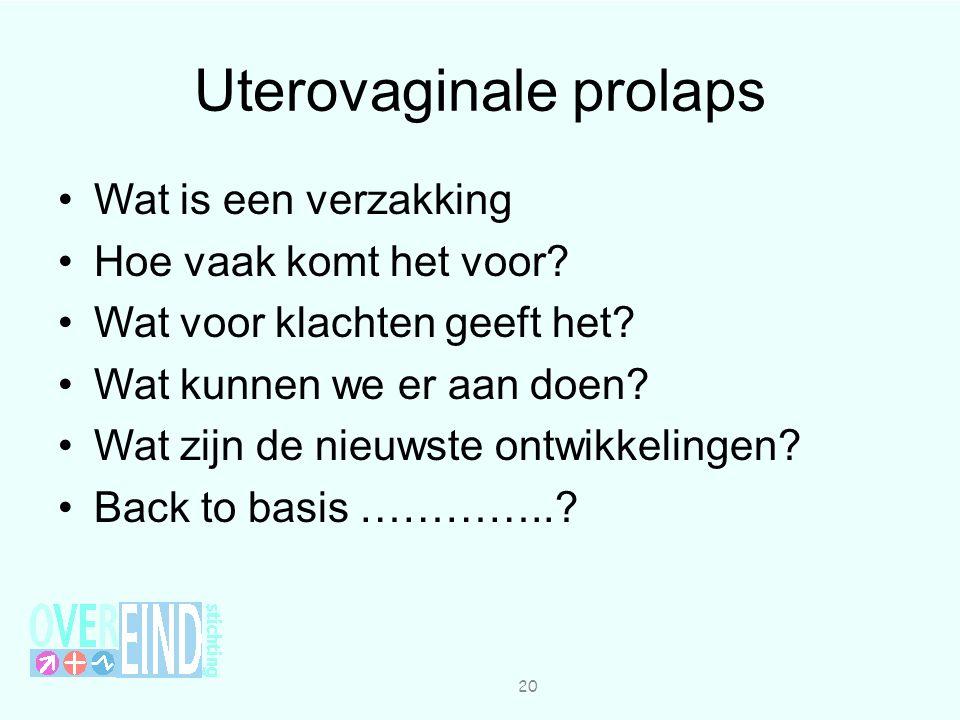 Uterovaginale prolaps Wat is een verzakking Hoe vaak komt het voor.