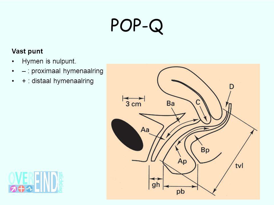 POP-Q Vast punt Hymen is nulpunt. – : proximaal hymenaalring + : distaal hymenaalring