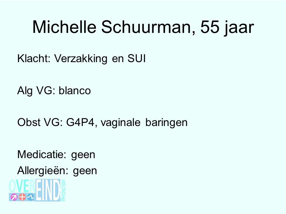 Michelle Schuurman, 55 jaar Klacht: Verzakking en SUI Alg VG: blanco Obst VG: G4P4, vaginale baringen Medicatie: geen Allergieën: geen