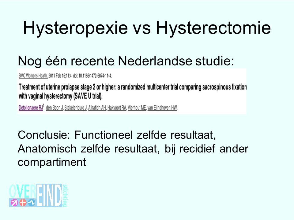 Nog één recente Nederlandse studie: Conclusie: Functioneel zelfde resultaat, Anatomisch zelfde resultaat, bij recidief ander compartiment