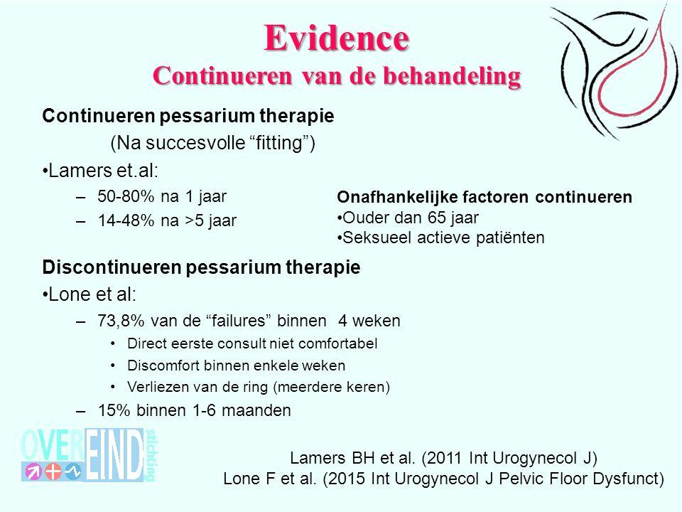 Evidence Continueren van de behandeling Lamers BH et al.