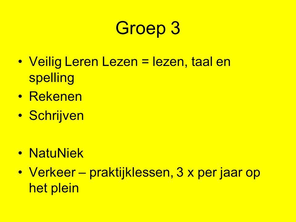 Groep 3 Veilig Leren Lezen = lezen, taal en spelling Rekenen Schrijven NatuNiek Verkeer – praktijklessen, 3 x per jaar op het plein