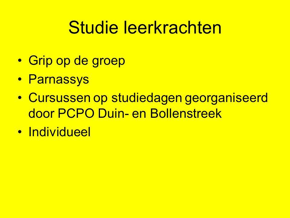 Studie leerkrachten Grip op de groep Parnassys Cursussen op studiedagen georganiseerd door PCPO Duin- en Bollenstreek Individueel