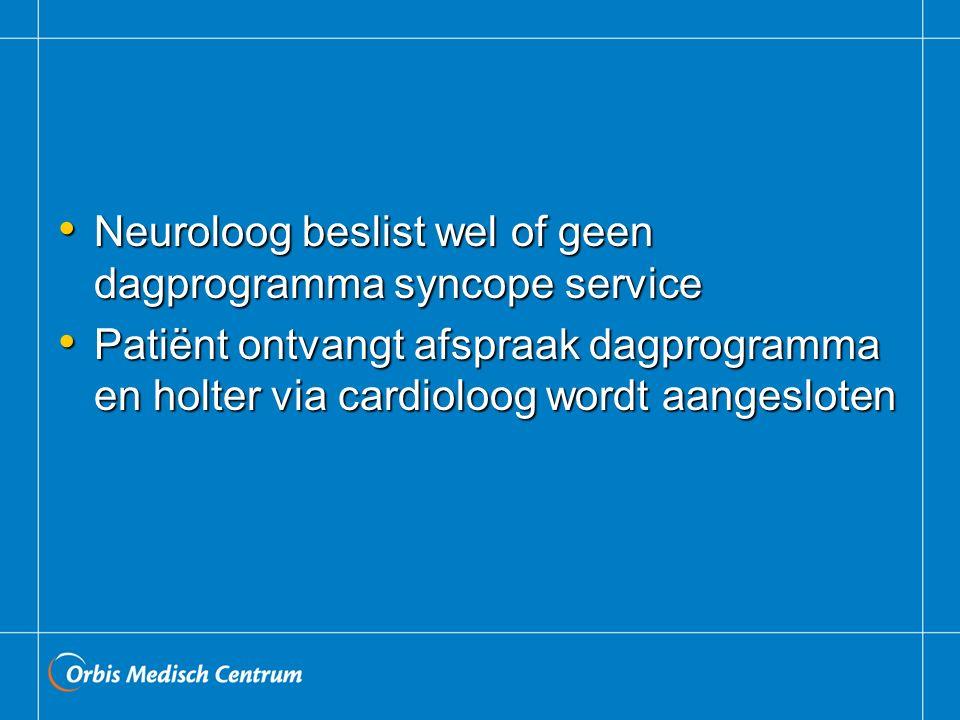Neuroloog beslist wel of geen dagprogramma syncope service Neuroloog beslist wel of geen dagprogramma syncope service Patiënt ontvangt afspraak dagpro