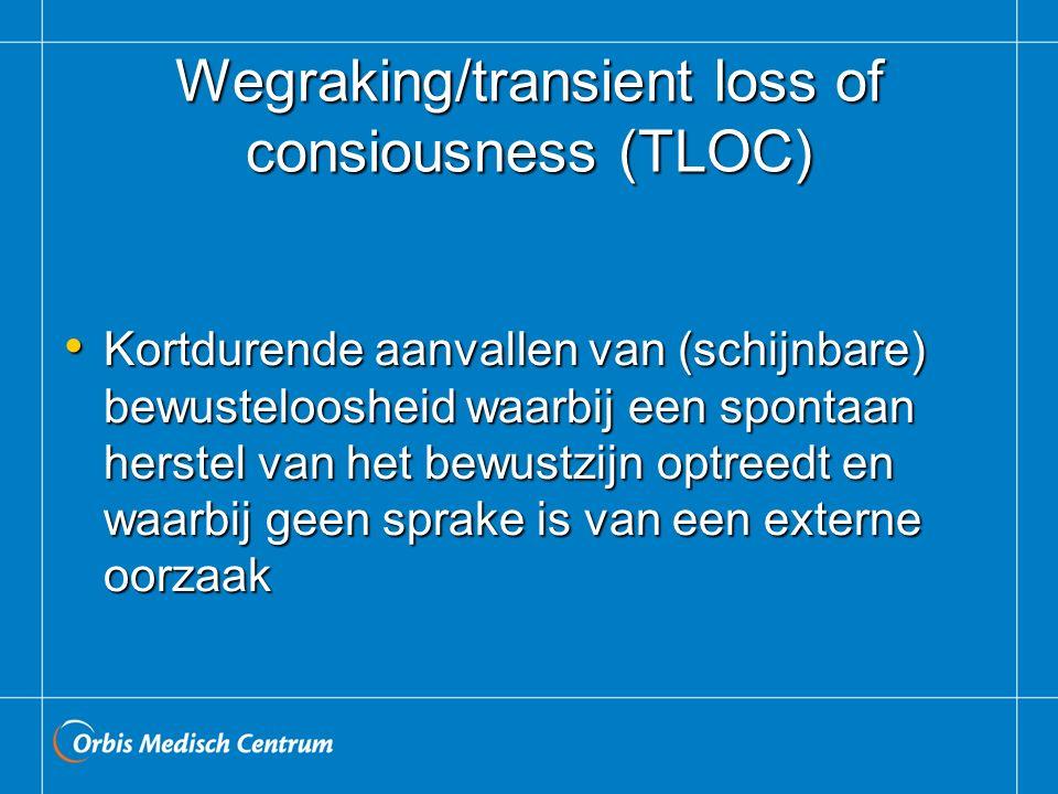 Wegraking/transient loss of consiousness (TLOC) Kortdurende aanvallen van (schijnbare) bewusteloosheid waarbij een spontaan herstel van het bewustzijn