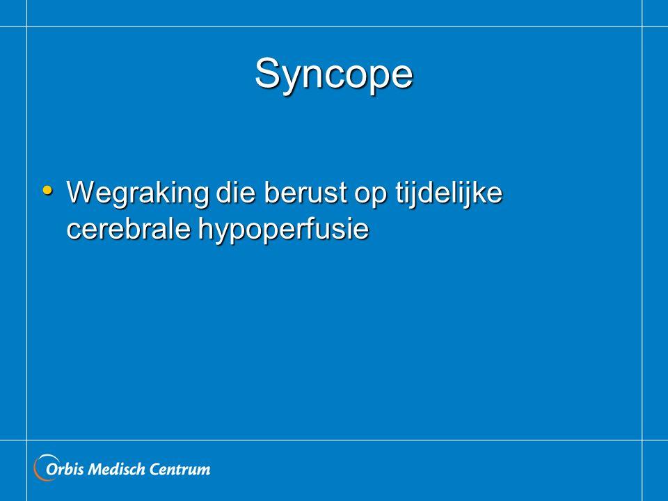Syncope Wegraking die berust op tijdelijke cerebrale hypoperfusie Wegraking die berust op tijdelijke cerebrale hypoperfusie