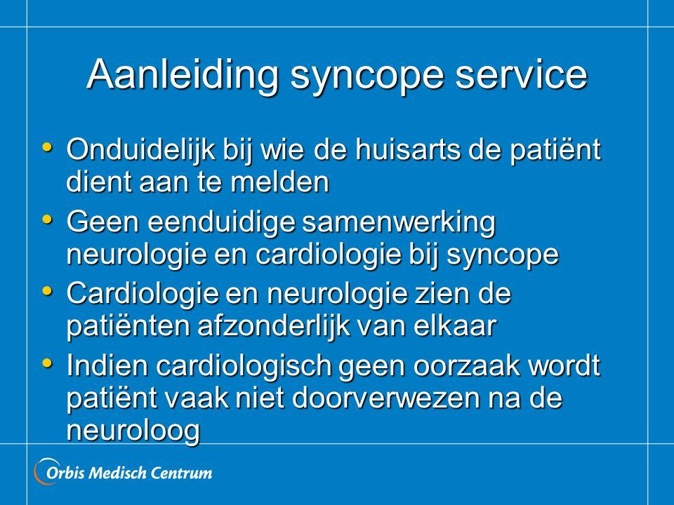 Aanleiding syncope service Onduidelijk bij wie de huisarts de patiënt dient aan te melden Onduidelijk bij wie de huisarts de patiënt dient aan te meld