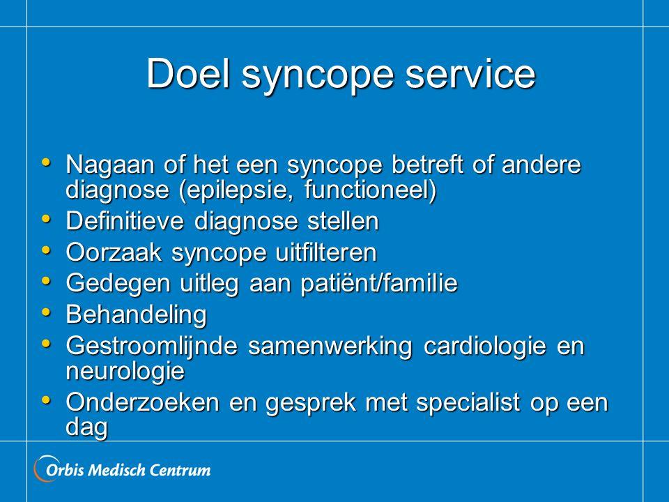 Doel syncope service Doel syncope service Nagaan of het een syncope betreft of andere diagnose (epilepsie, functioneel) Nagaan of het een syncope betr