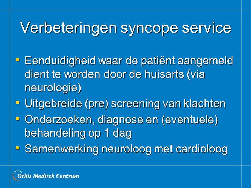 Verbeteringen syncope service Eenduidigheid waar de patiënt aangemeld dient te worden door de huisarts (via neurologie) Eenduidigheid waar de patiënt