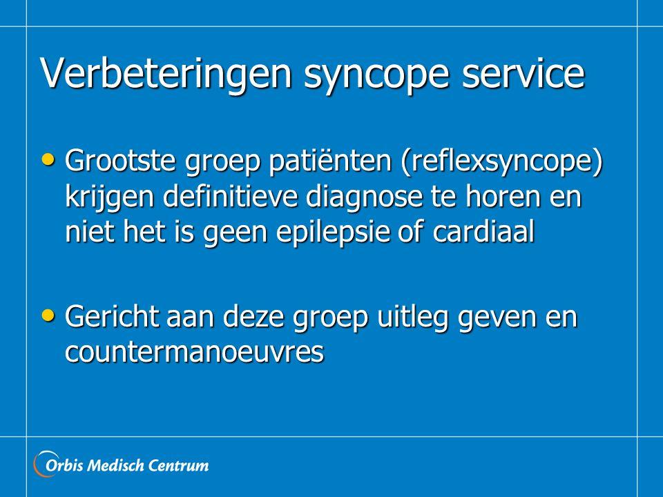 Verbeteringen syncope service Grootste groep patiënten (reflexsyncope) krijgen definitieve diagnose te horen en niet het is geen epilepsie of cardiaal