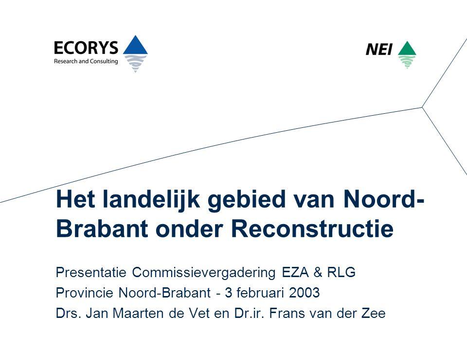 Het landelijk gebied van Noord- Brabant onder Reconstructie Presentatie Commissievergadering EZA & RLG Provincie Noord-Brabant - 3 februari 2003 Drs.