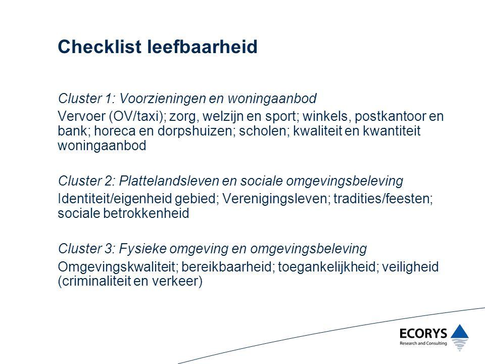 Checklist leefbaarheid Cluster 1: Voorzieningen en woningaanbod Vervoer (OV/taxi); zorg, welzijn en sport; winkels, postkantoor en bank; horeca en dor