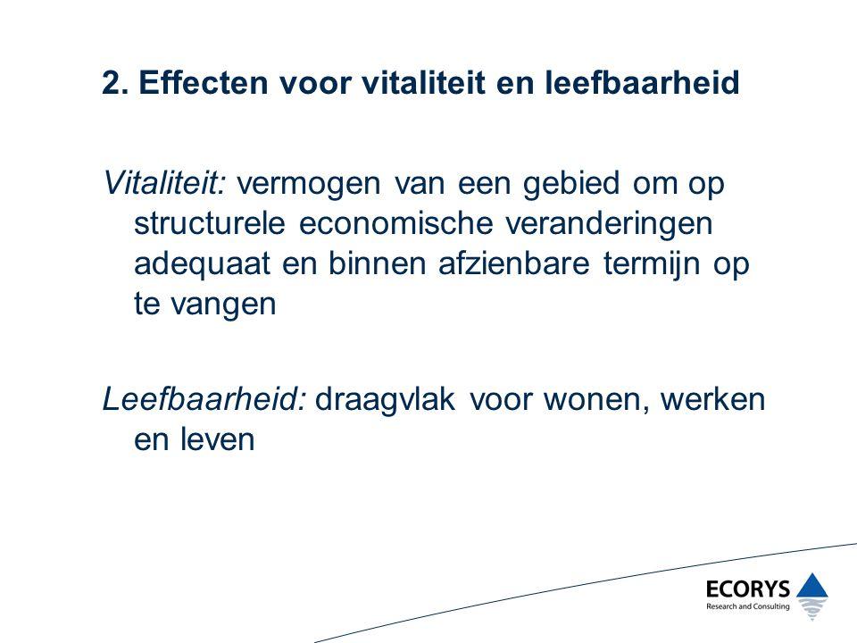 2. Effecten voor vitaliteit en leefbaarheid Vitaliteit: vermogen van een gebied om op structurele economische veranderingen adequaat en binnen afzienb