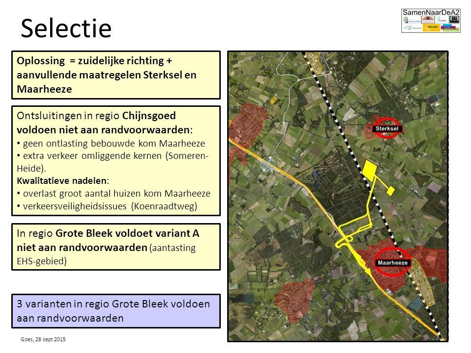 Selectie Oplossing = zuidelijke richting + aanvullende maatregelen Sterksel en Maarheeze Ontsluitingen in regio Chijnsgoed voldoen niet aan randvoorwaarden: geen ontlasting bebouwde kom Maarheeze extra verkeer omliggende kernen (Someren- Heide).