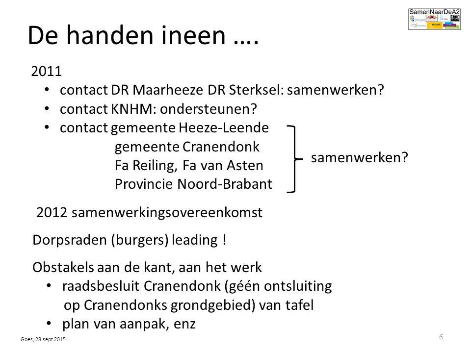De handen ineen …. samenwerken. 2011 contact DR Maarheeze DR Sterksel: samenwerken.