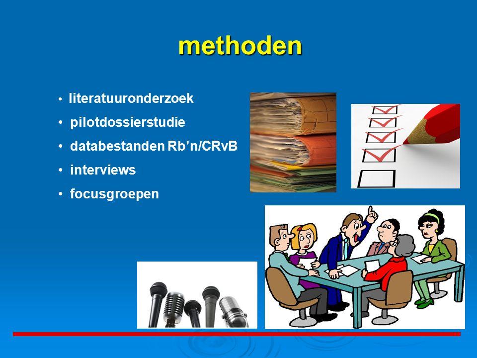 literatuuronderzoek pilotdossierstudie databestanden Rb'n/CRvB interviews focusgroepen methoden