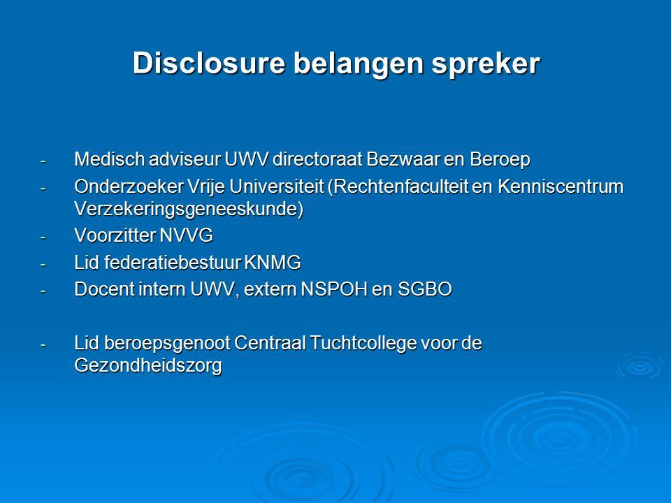 Disclosure belangen spreker - Medisch adviseur UWV directoraat Bezwaar en Beroep - Onderzoeker Vrije Universiteit (Rechtenfaculteit en Kenniscentrum V