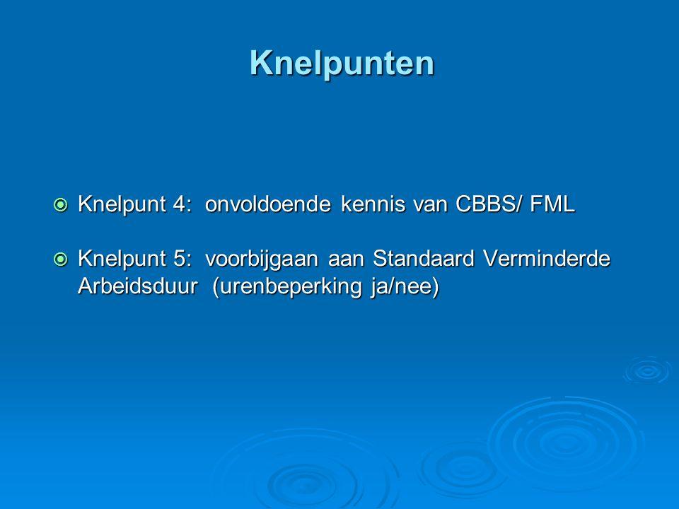 Knelpunten  Knelpunt 4: onvoldoende kennis van CBBS/ FML  Knelpunt 5: voorbijgaan aan Standaard Verminderde Arbeidsduur (urenbeperking ja/nee)