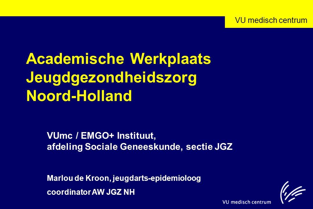 VU medisch centrum Academische Werkplaats Jeugdgezondheidszorg Noord-Holland VUmc / EMGO+ Instituut, afdeling Sociale Geneeskunde, sectie JGZ Marlou de Kroon, jeugdarts-epidemioloog coordinator AW JGZ NH