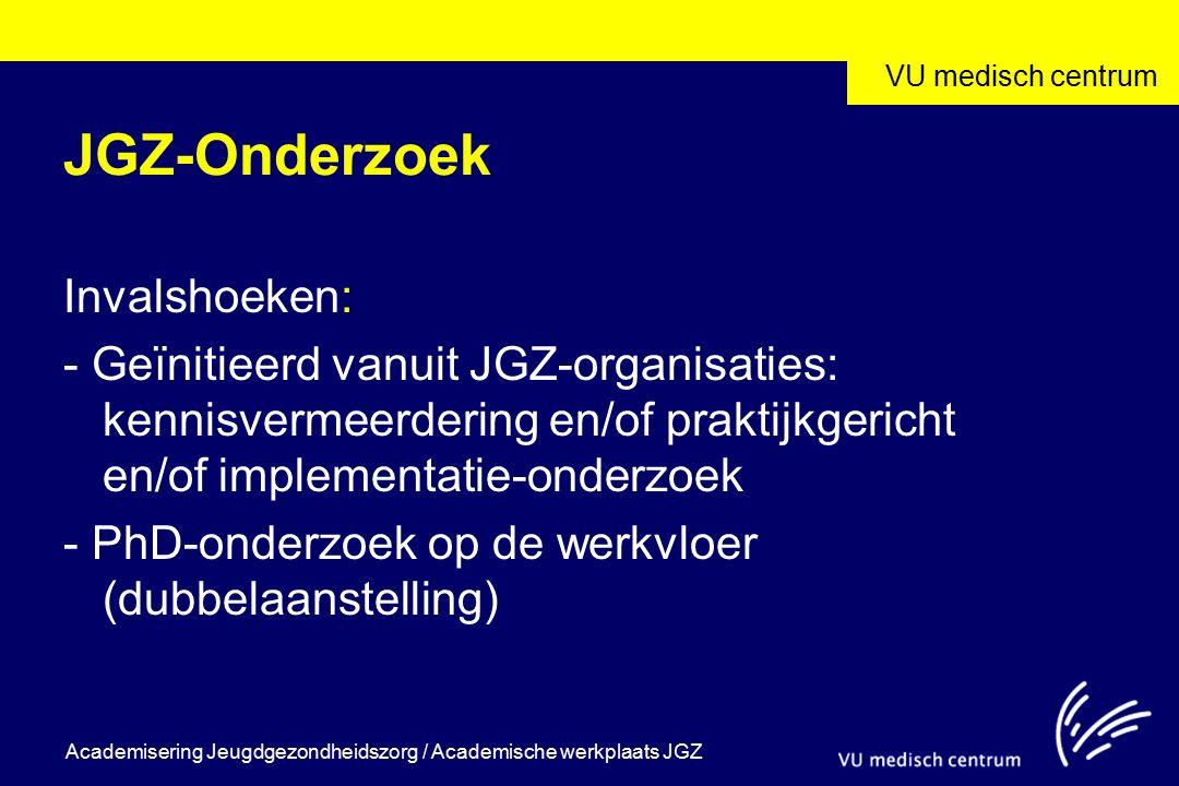 VU medisch centrum Academisering Jeugdgezondheidszorg / Academische werkplaats JGZ JGZ-Onderzoek Invalshoeken: - Geïnitieerd vanuit JGZ-organisaties: