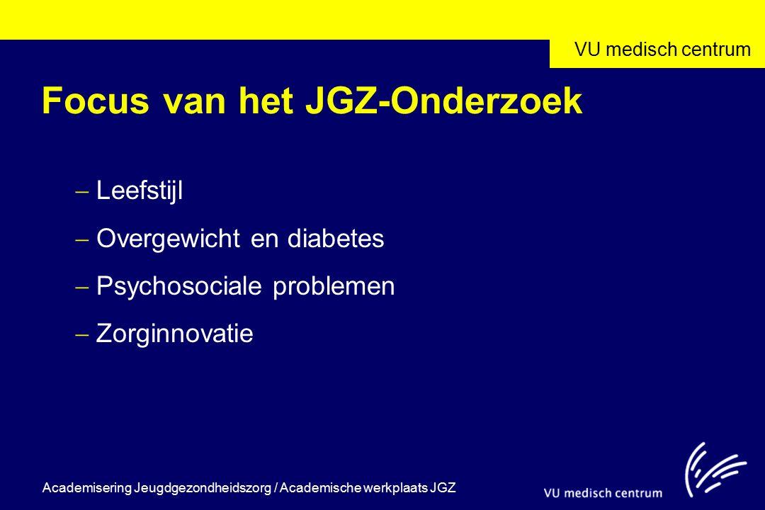 VU medisch centrum Academisering Jeugdgezondheidszorg / Academische werkplaats JGZ Focus van het JGZ-Onderzoek  Leefstijl  Overgewicht en diabetes 