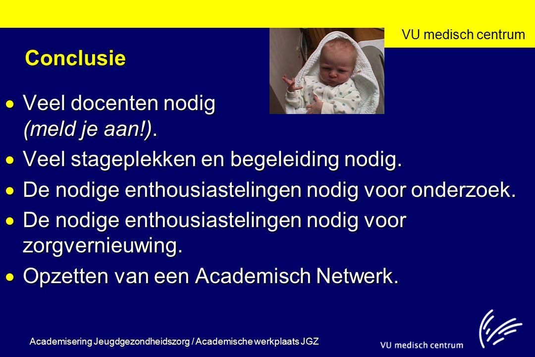 VU medisch centrum Academisering Jeugdgezondheidszorg / Academische werkplaats JGZ Conclusie  Veel docenten nodig (meld je aan!).  Veel stageplekken