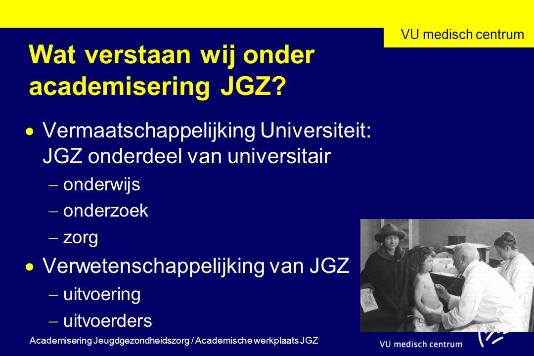 VU medisch centrum Academisering Jeugdgezondheidszorg / Academische werkplaats JGZ Wat verstaan wij onder academisering JGZ?  Vermaatschappelijking U
