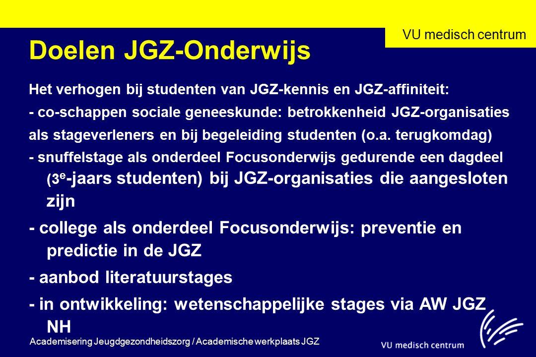 VU medisch centrum Academisering Jeugdgezondheidszorg / Academische werkplaats JGZ Doelen JGZ-Onderwijs Het verhogen bij studenten van JGZ-kennis en JGZ-affiniteit: - co-schappen sociale geneeskunde: betrokkenheid JGZ-organisaties als stageverleners en bij begeleiding studenten (o.a.
