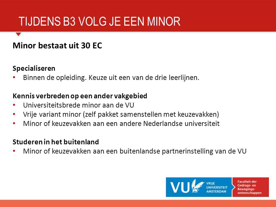 TIJDENS B3 VOLG JE EEN MINOR Minor bestaat uit 30 EC Specialiseren Binnen de opleiding.