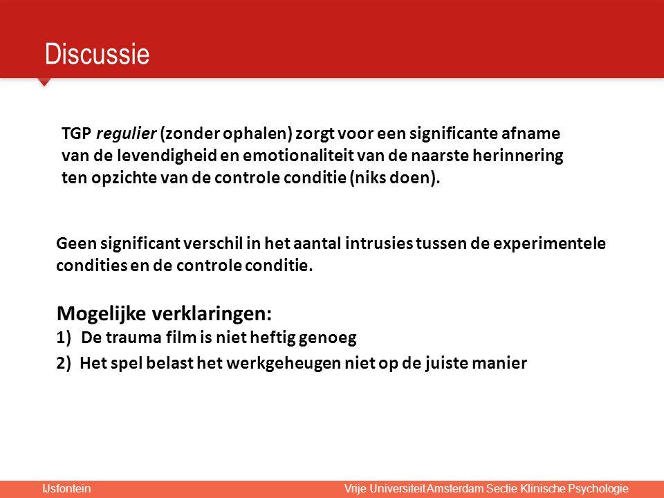 IJsfontein Vrije Universiteit Amsterdam Sectie Klinische Psychologie Geen significant verschil in het aantal intrusies tussen de experimentele condities en de controle conditie.