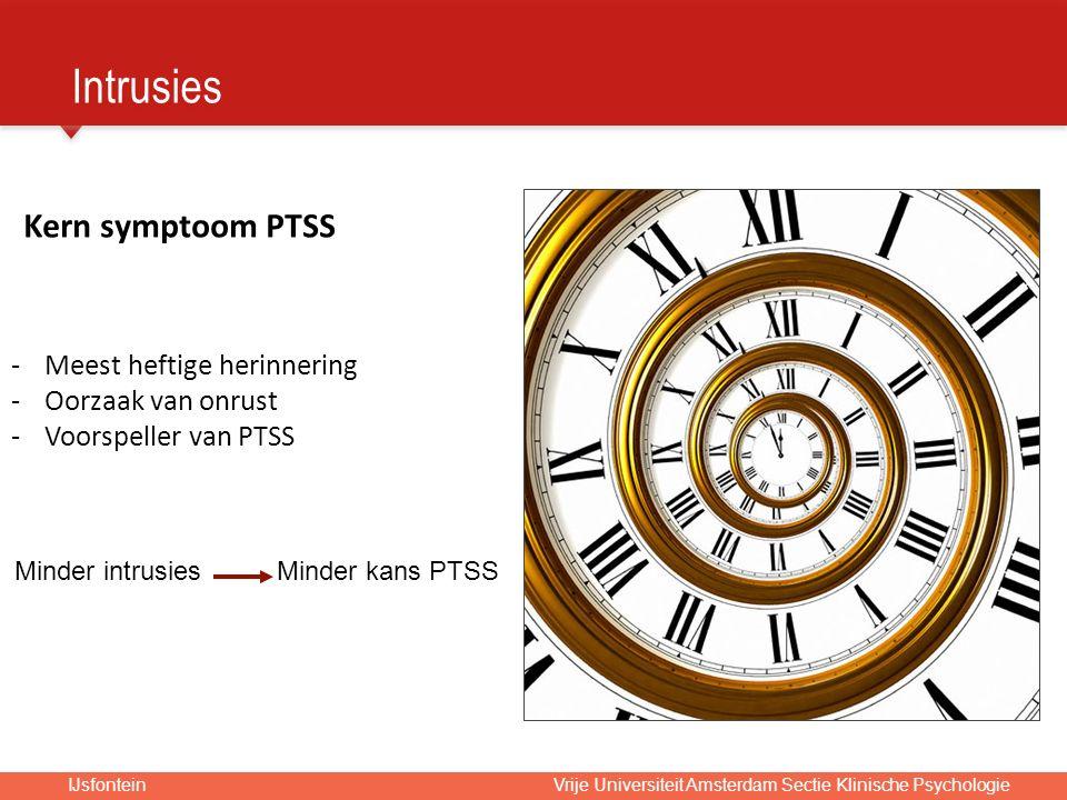 IJsfontein Vrije Universiteit Amsterdam Sectie Klinische Psychologie Kern symptoom PTSS -Meest heftige herinnering -Oorzaak van onrust -Voorspeller van PTSS Minder intrusies Minder kans PTSS