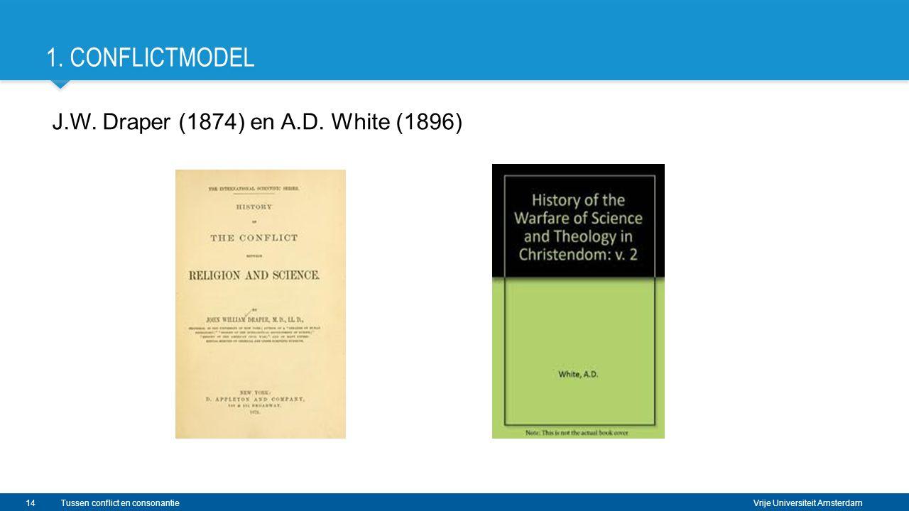 Vrije Universiteit Amsterdam 1. CONFLICTMODEL J.W. Draper (1874) en A.D. White (1896) 14Tussen conflict en consonantie