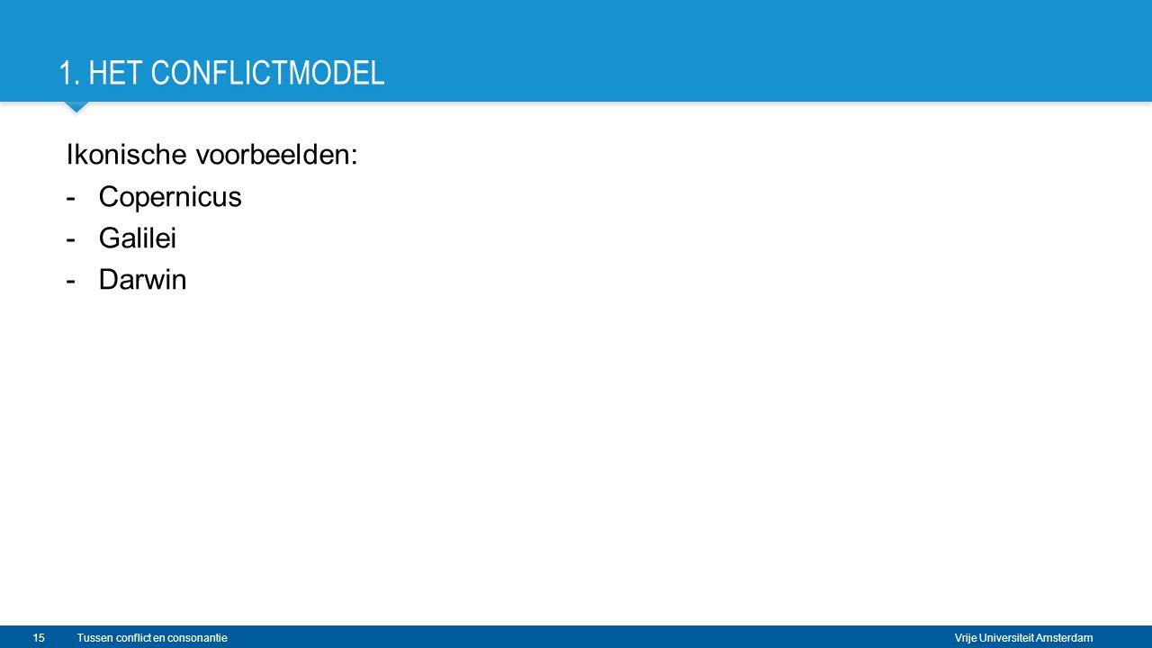 Vrije Universiteit Amsterdam 1. HET CONFLICTMODEL Ikonische voorbeelden: -Copernicus -Galilei -Darwin 15Tussen conflict en consonantie