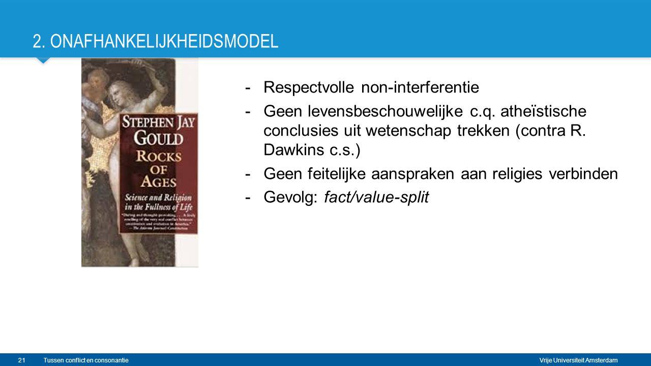 Vrije Universiteit Amsterdam 2. ONAFHANKELIJKHEIDSMODEL -Respectvolle non-interferentie -Geen levensbeschouwelijke c.q. atheïstische conclusies uit we