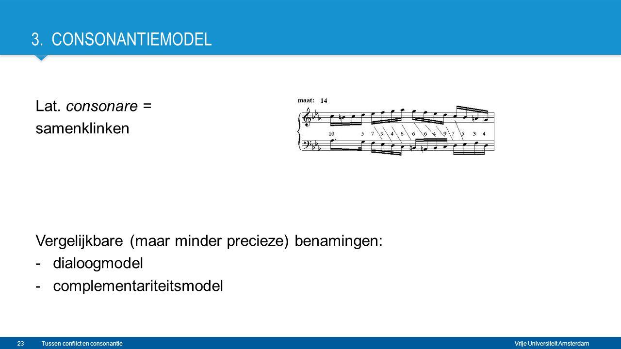 Vrije Universiteit Amsterdam Lat. consonare = samenklinken Vergelijkbare (maar minder precieze) benamingen: -dialoogmodel -complementariteitsmodel Tus