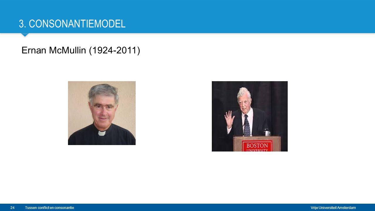 Vrije Universiteit Amsterdam 3. CONSONANTIEMODEL Ernan McMullin (1924-2011) 24Tussen conflict en consonantie